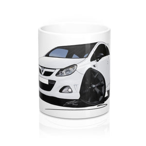 Vauxhall Corsa D VXR Arctic Edition - Caricature Car Art Coffee Mug