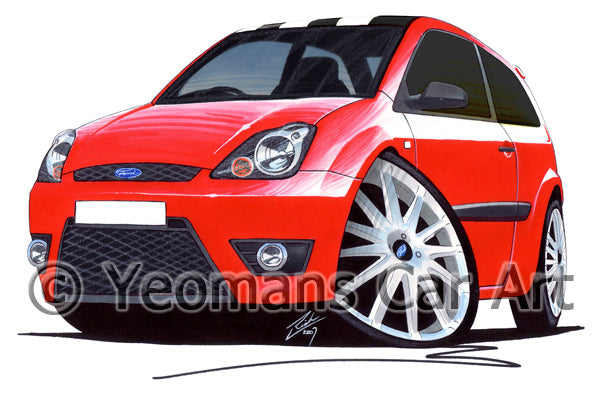 Ford Fiesta (Mk6)(Facelift) Zetec S 30th Anniversary Edition - Caricature Car Art Print