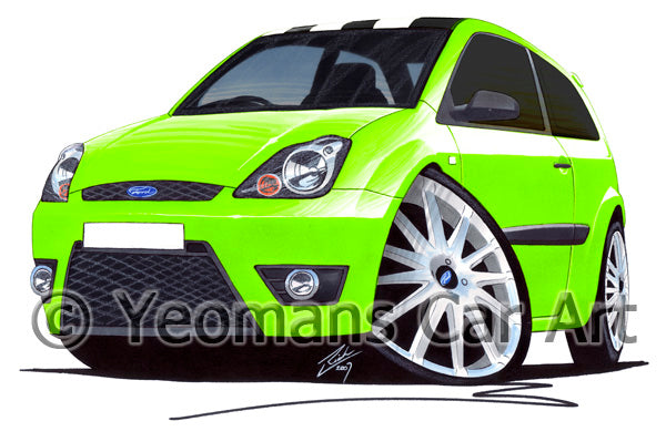 Ford Fiesta (Mk6)(Facelift) Zetec S Celebration Edition - Caricature Car Art Print