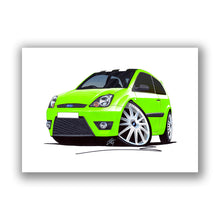 Load image into Gallery viewer, Ford Fiesta (Mk6)(Facelift) Zetec S Celebration Edition - Caricature Car Art Print