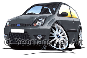 Ford Fiesta (Mk6)(Facelift) Zetec S - Caricature Car Art Print