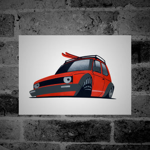 Volkswagen Golf (Mk1) (red) - Stencil Artwork