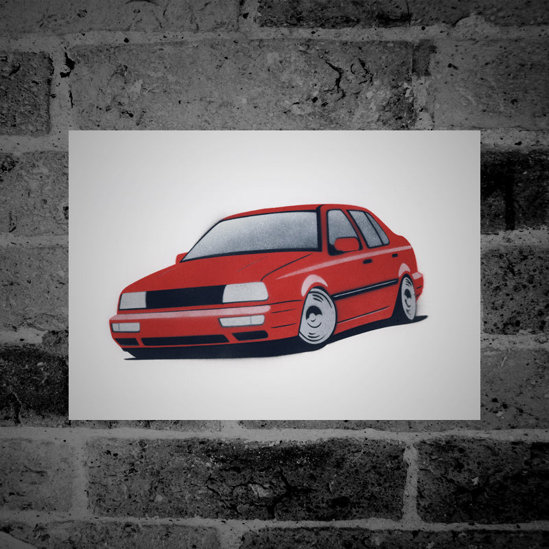 Volkswagen Vento (red) - Stencil Artwork