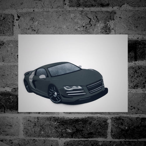 Audi R8 (grey) - Stencil Artwork