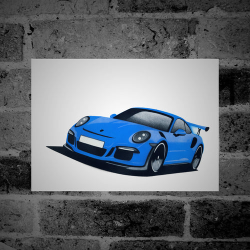 Porsche 911 (991) GT3 RS (blue) - Stencil Artwork