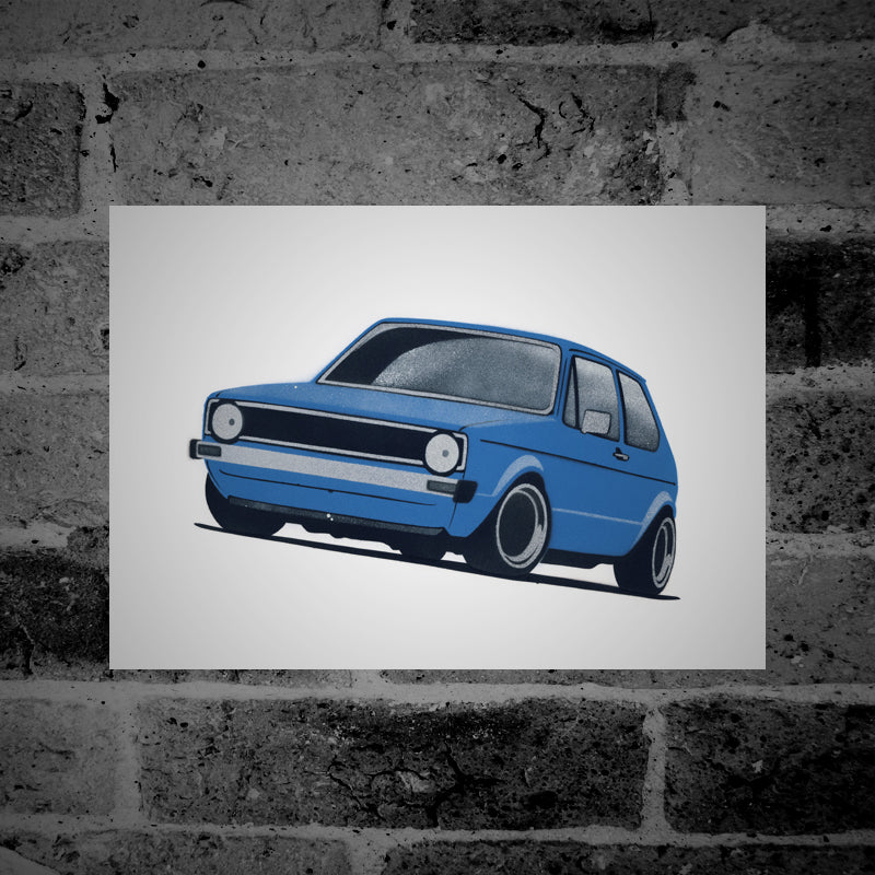 Volkswagen Golf (Mk1) (blue) - Stencil Artwork