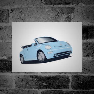 Volkswagen New Beetle Cabriolet (light blue) - Stencil Artwork