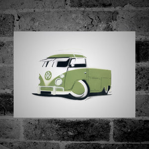 Volkswagen Split-Screen Pick-Up (green) - Stencil Artwork
