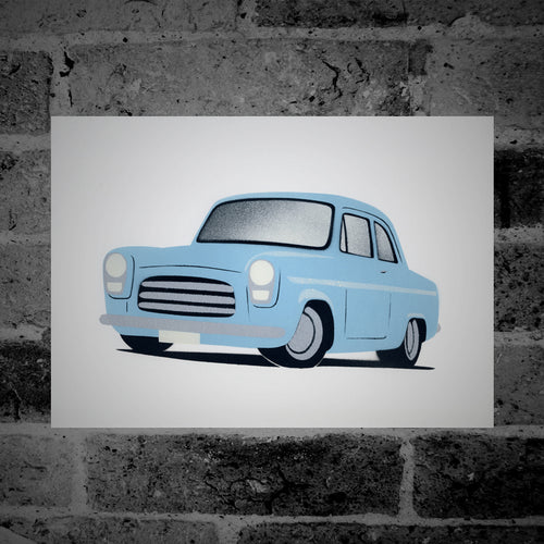 Ford Anglia 100e (light blue) - Stencil Artwork