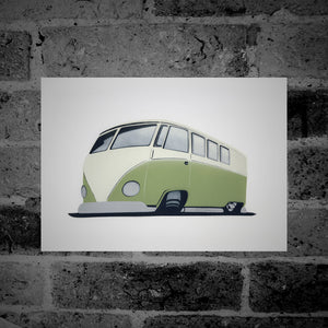 Volkswagen Split-Screen Camper Van (green) - Stencil Artwork