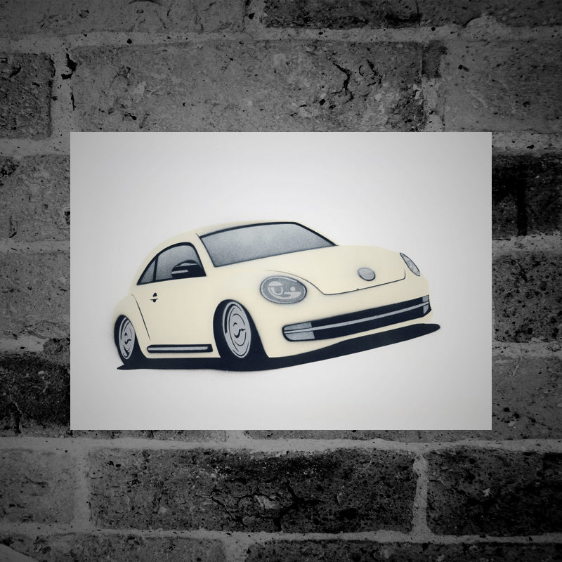 Volkswagen The Beetle (cream) - Stencil Artwork