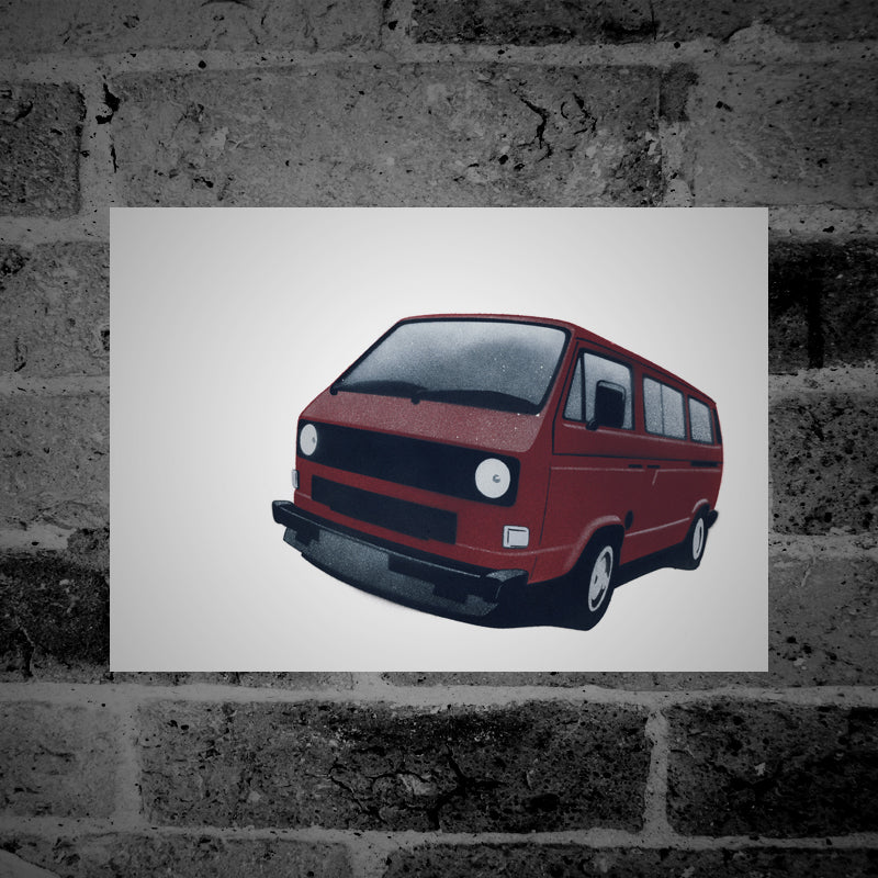 Volkswagen T25 / T3 Camper Van (dark red) - Stencil Artwork