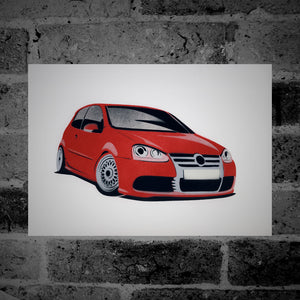 Volkswagen Golf (Mk5) R32 (red) - Stencil Artwork