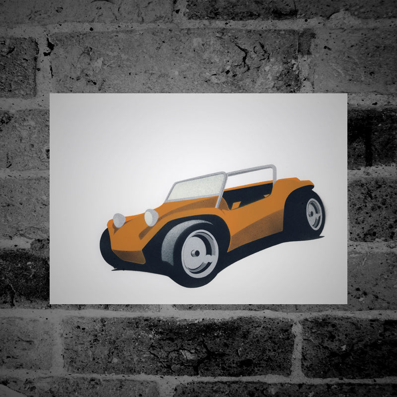 VW Beach Buggy (orange) - Stencil Artwork