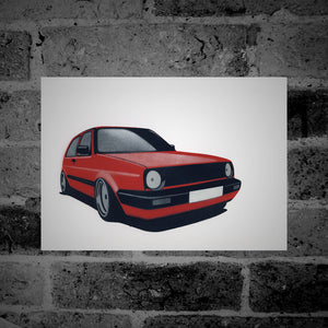 Volkswagen Golf (Mk2) (red) - Stencil Artwork