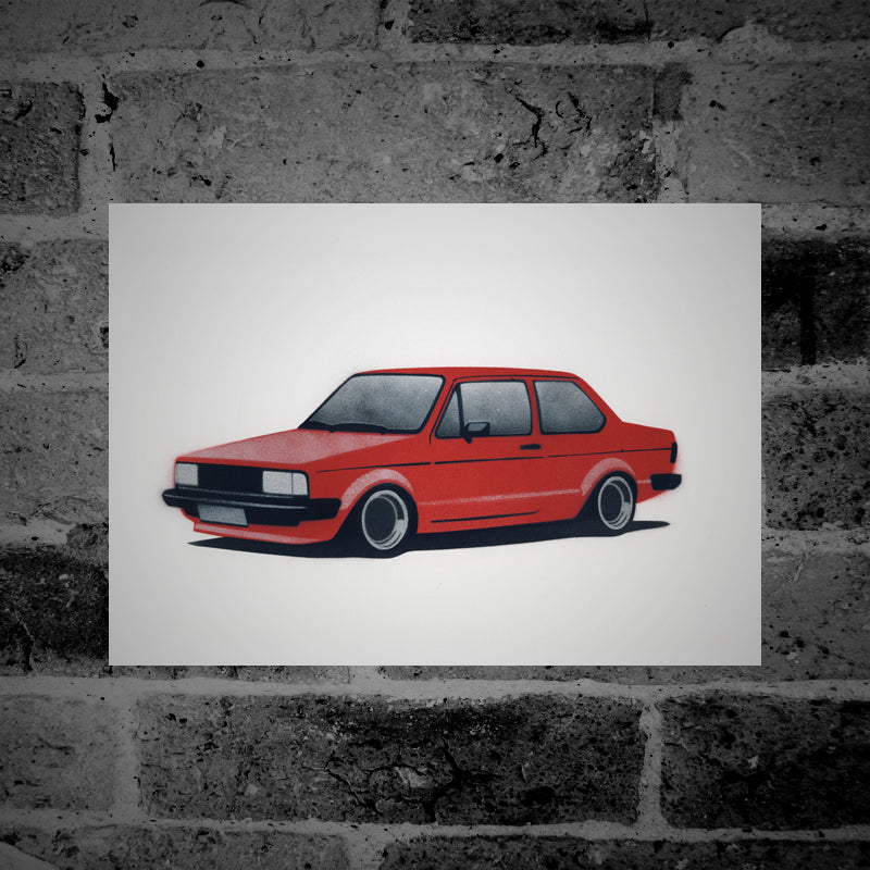Volkswagen Jetta (Mk1) (red) - Stencil Artwork