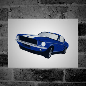 Ford Mustang (blue) - Stencil Artwork
