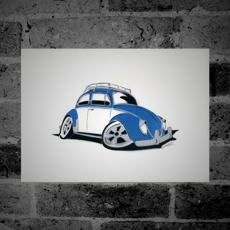 Volkswagen Beetle (blue) - Stencil Artwork