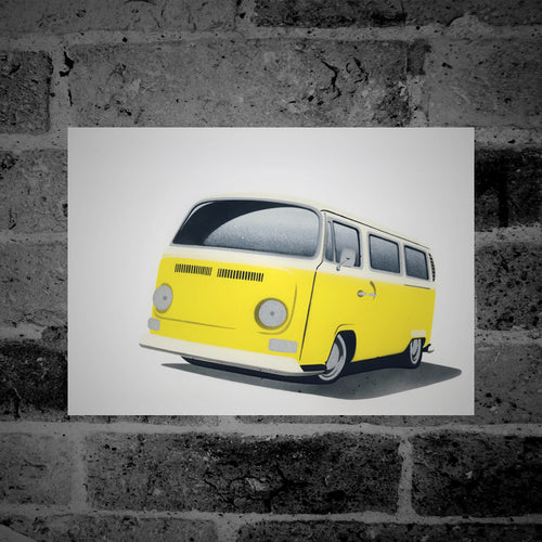 Volkswagen Bay Window Camper Van (yellow) - Stencil Artwork