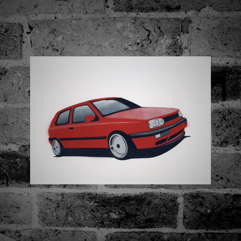 Volkswagen Golf (Mk3) (red) - Stencil Artwork