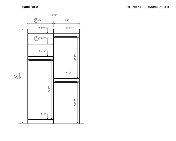 Elevation drawing showing measurement details for the Everyday 4ft Hanging System | California Closets