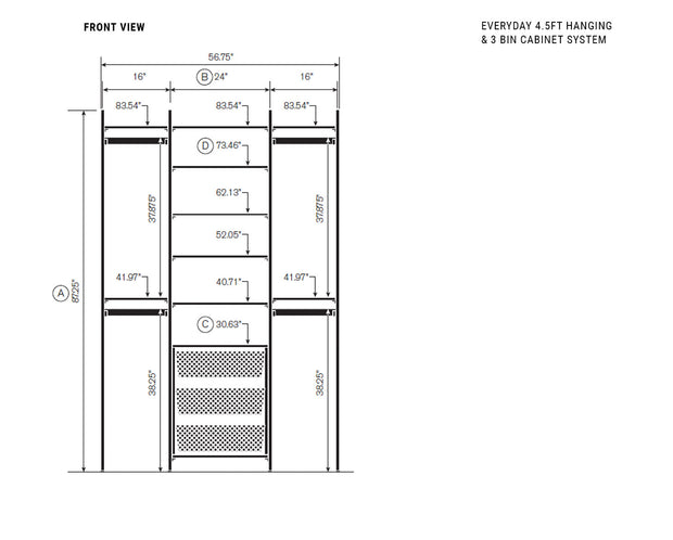 Elevation drawing showing measurement details for the Everyday 4.5ft Hanging & 3 Bin Cabinet System | California Closets