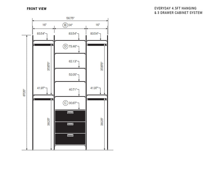 Elevation drawing showing measurement details for the Everyday 4.5ft Hanging & 3 Drawer Cabinet System | California Closets