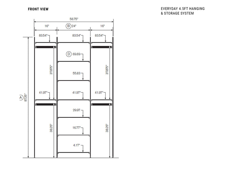 Elevation drawing showing measurement details for the Everyday 4.5ft Hanging & Storage System | California Closets