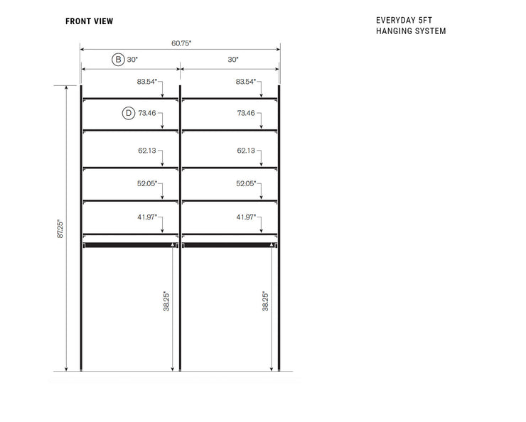 Elevation drawing showing measurement details for the Everyday 5ft Hanging System | California Closets
