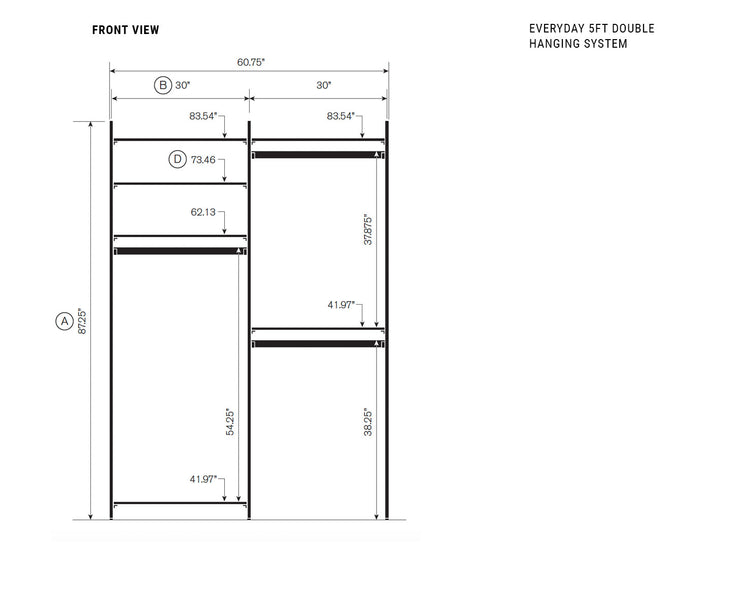 Elevation drawing showing measurement details for the Everyday 5ft Double Hanging System | California Closets