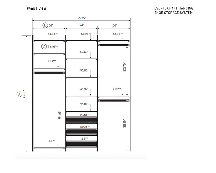 Elevation drawing showing measurement details for the Everyday 6ft Hanging & Shoe Storage System | California Closets