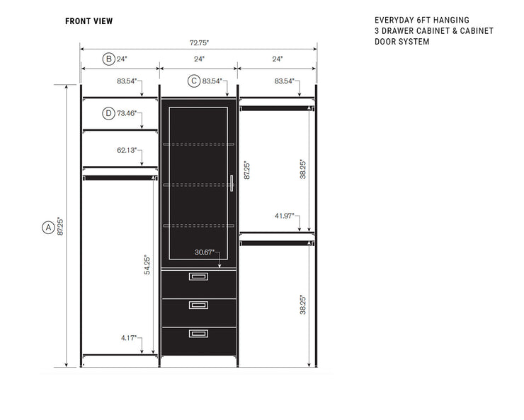Elevation drawing showing measurement details for the Everyday 6ft Hanging & 3 Drawer Cabinet with Door Cabinet System | California Closets