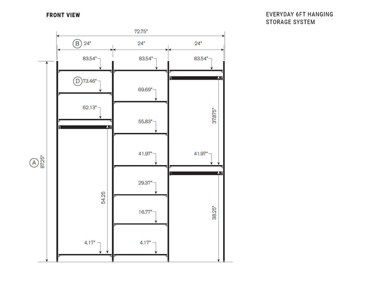 Elevation drawing showing measurement details for the Everyday 6ft Hanging & Storage System | California Closets