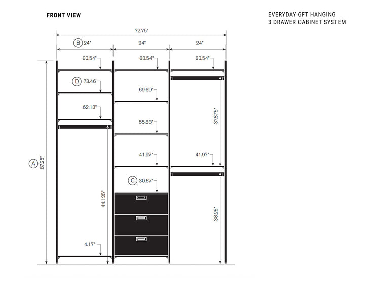 Elevation drawing showing measurement details for the Everyday 6ft Hanging & 3 Drawer Cabinet System | California Closets