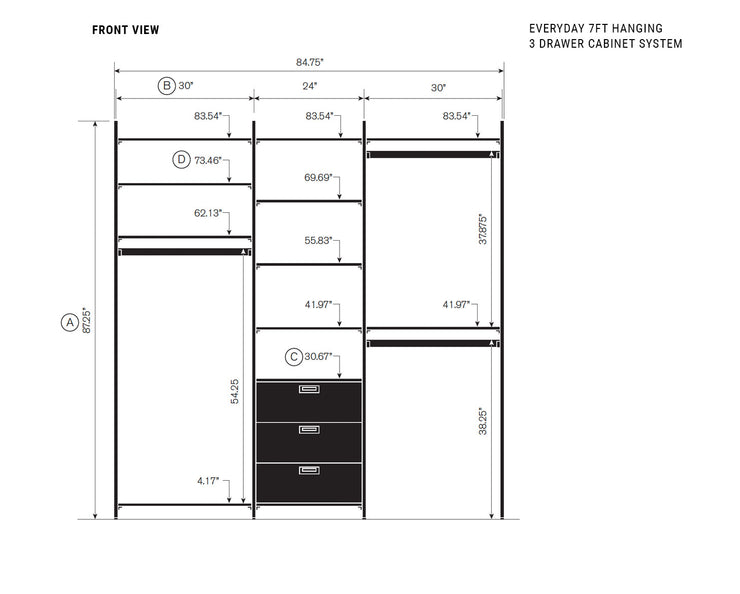 Elevation drawing showing measurement details for the Everyday 7ft Hanging & 3 Drawer Cabinet System | California Closets