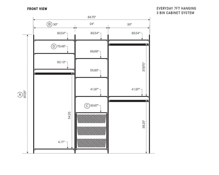 Elevation drawing showing measurement details for the Everyday 7ft Hanging & 3 Bin Cabinet System | California Closets