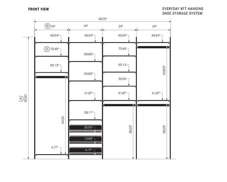 Elevation drawing showing measurement details for the Everyday 8ft Hanging & Shoe Storage System | California Closets