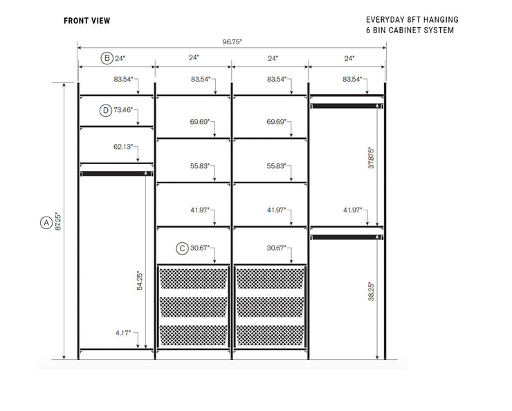 Elevation drawing showing measurement details for the Everyday 8ft Hanging & 6 Bin Cabinet System | California Closets