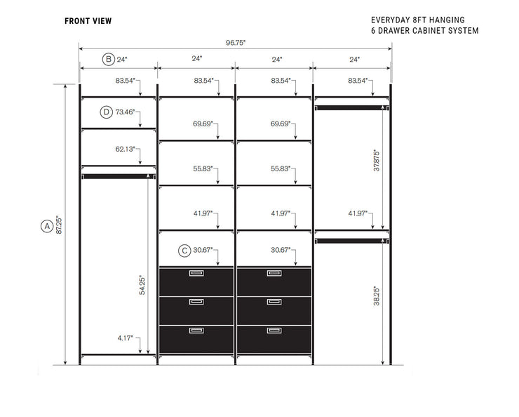 Elevation drawing showing measurement details for the Everyday 8ft Hanging & 6 Drawer Cabinet System | California Closets