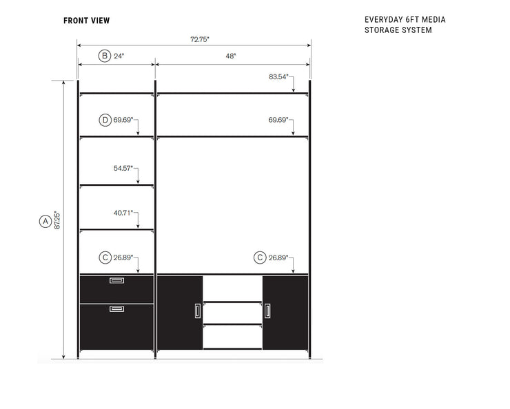 Elevation drawing showing measurement details for the Everyday 6ft Media & Storage System | California Closets
