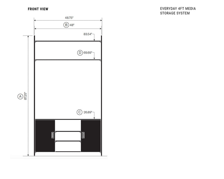 Elevation drawing showing measurement details for the Everyday 4ft Media & Storage System | California Closets