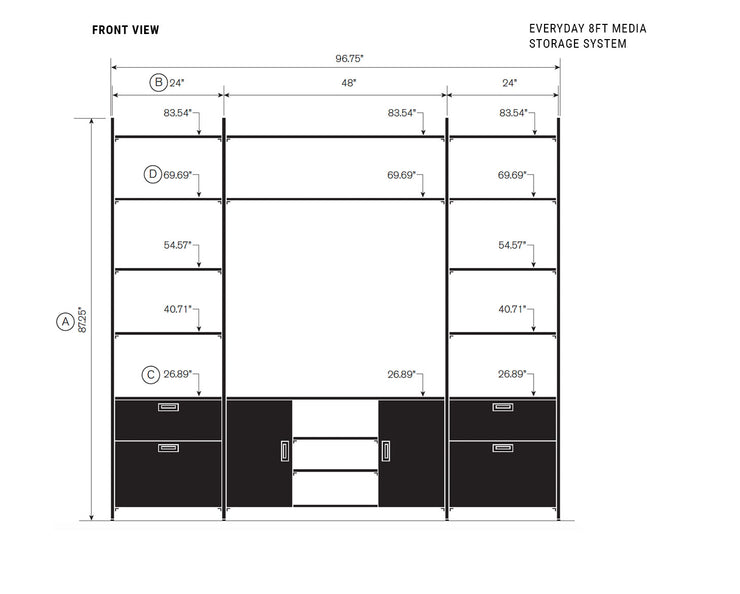 Elevation drawing showing measurement details for the Everyday 8ft Media & Storage System | California Closets