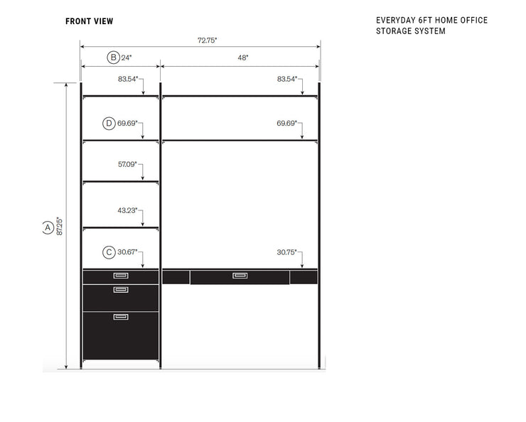 Elevation drawing showing measurement details for the Everyday 6ft Home Office & Storage System | California Closets