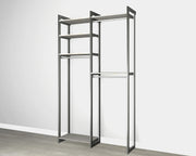 Everyday 4ft Hanging System in Bedford Grey Woodgrain with Graphite Metal | California Closets
