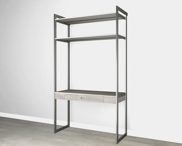 Everyday 4ft Home Office System in Bedford Grey Woodgrain with Graphite Metal | California Closets