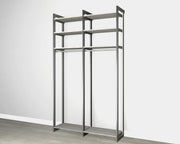 Everyday 4ft Long Hanging System in Bedford Grey Woodgrain with Graphite Metal | California Closets