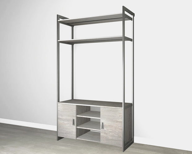 Everyday 4ft Media & Storage System in Bedford Grey Woodgrain with Graphite Metal | California Closets