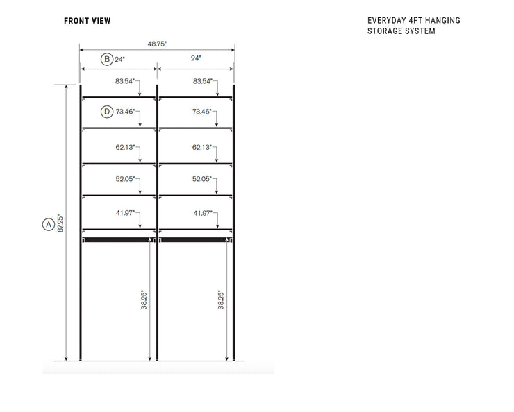Elevation drawing showing measurement details for the Everyday 4ft Hanging & Storage System | California Closets