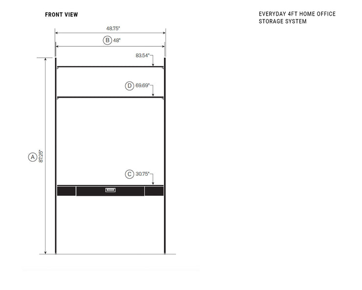 Elevation drawing showing measurement details for the Everyday 4ft Home Office System | California Closets