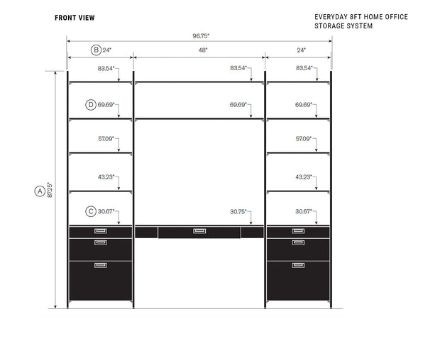 Elevation drawing showing measurement details for the Everyday 8ft Home Office & Storage System | California Closets
